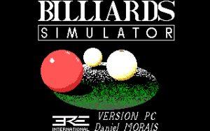 Billiards Simulator Title Screen.