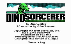 Dino Sorcerer Opening Screen