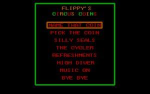 Flippy's Circus Coins The main menu