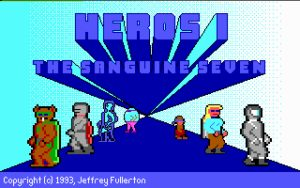 Heroes: The Sanguine Seven Title screen. Note the misspelling!