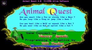 Animal Quest Title screen