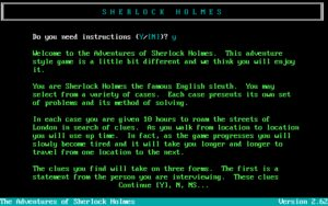 The Adventures of Sherlock Holmes Introduction to the game