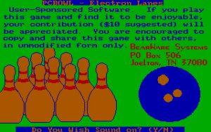 PC BOWL – Electron Lanes Title screen.