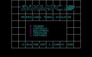 Professional Tennis Simulator Main menu
