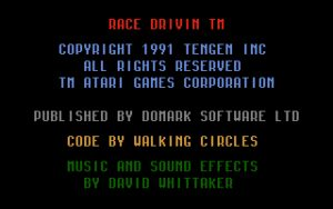 Race Drivin' Copyright Information